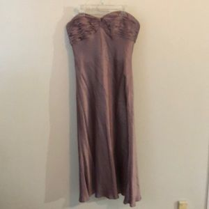 Purple silky party dress corset built in top